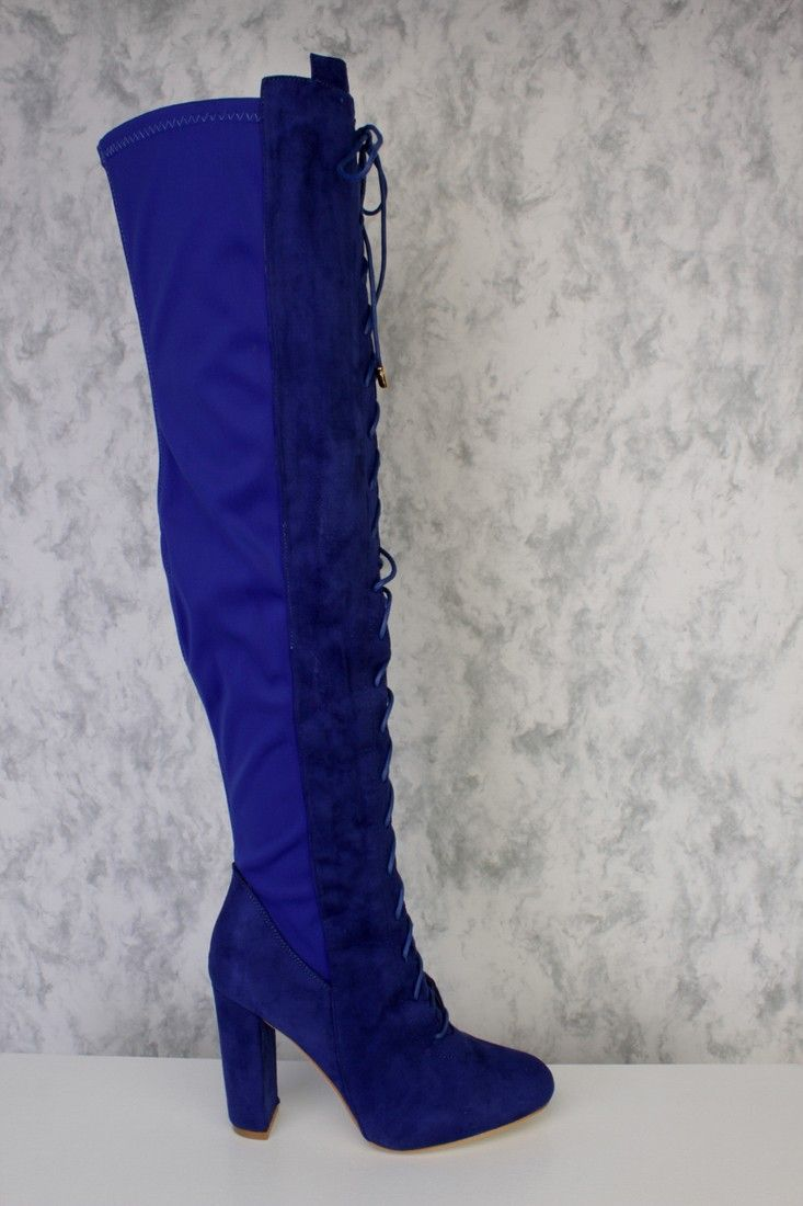 59848147c83 Royal Blue Front Lace Up Panel Detailing Thigh High Single Sole ...