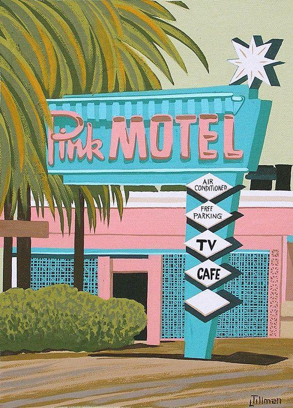 Photo of Mid Century Modern Eames Retro-trykk fra Original Painting Pink Motel – #Centur …