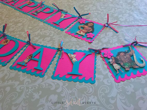 "Birthday banner are cute decorations perfect for your special occasion… Item listed is for a Moana inspired birthday banner. Please select wording choice from drop down menu. Each scalloped square are made from premium cardstock and measures 5"" x 5"". They are tied up using cute coordinating ribbons. Colors and/or style of ribbon may change depending on availability. The letter/image is attached using an adhesive foam square which gives it a 3D look. For BABY MOANA IMAGE: Please le..."