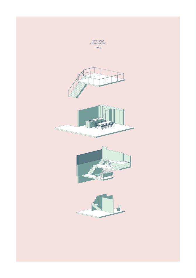 Zoe Ella. Victoria University, Wellington NZ. http://cargocollective.com/zoeella Axonometric | Illustration | Mixed Media | Infill House | Architecture | VUW | ARCI212