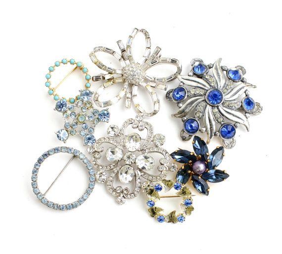 Vintage Brooch Lot - 8 Gold & Silver Tone Costume Jewelry Pins / Blue Accessory Collection by Maejean Vintage, $26.00