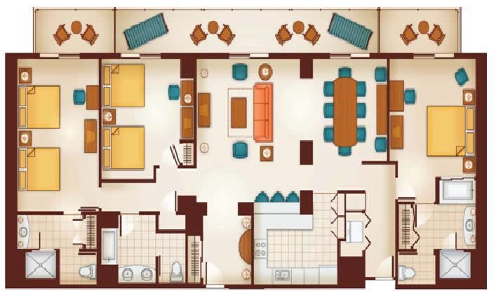 Floor plan walt disney world hotels in orlando fl - 2 bedroom villas near disney world ...