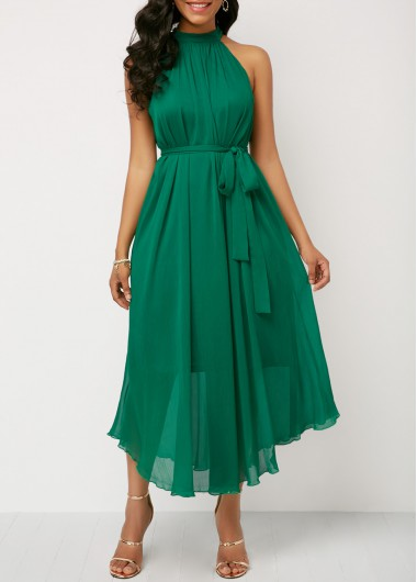 fdd165bad46e Summer Dresses Sleeveless Ruched High Waist Belted Green Dress. Royal Blue  Belted Asymmetric Hem ...