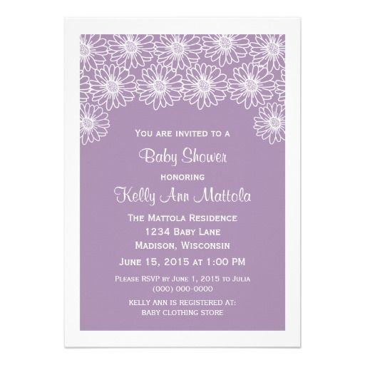 Lilac Whimsical Daisies Baby Shower Invite