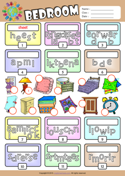Bedroom Unscramble Words Esl Vocabulary Worksheet House