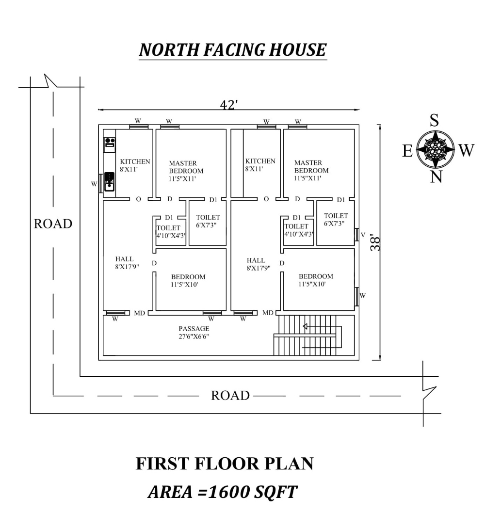 42 X38 Amazing North Facing Double 2bhk House Plan As Per Vastu Shastra 2bhk House Plan North Facing House House Plans