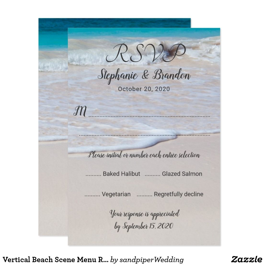 Vertical menu rsvp wedding reply enclosure cards with a beach scene ...
