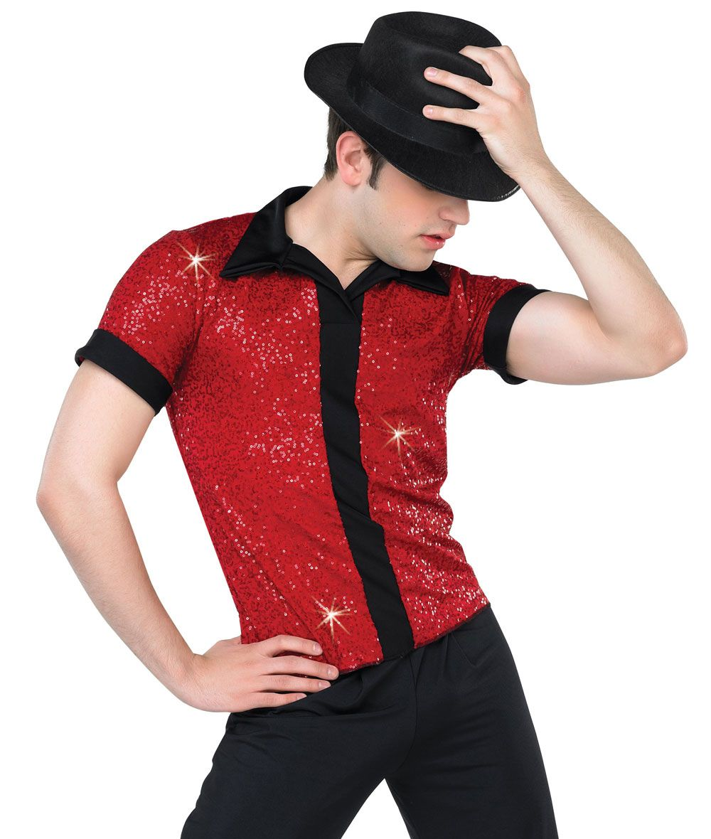 5d93c5315 12743 - Sequin Placket Guy Shirt colors: 52 Red, 53 Royal, 58 Turquoise, 60  White, 63 Kelly, 80 Gold by A Wish Come True