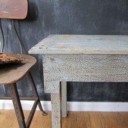 Blue Crackle Chipped Paint Farm Table     $195.00