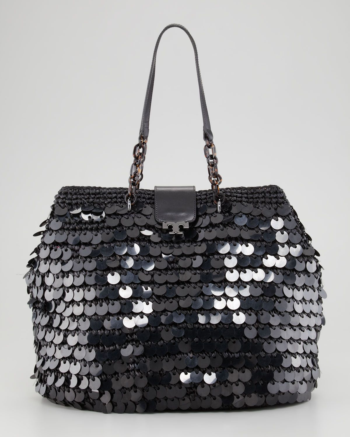 Tory Burch - Fache Large Sequin Tote Bag, Black - http://womenspin.com/handbags/tory-burch-fache-large-sequin-tote-bag-black/