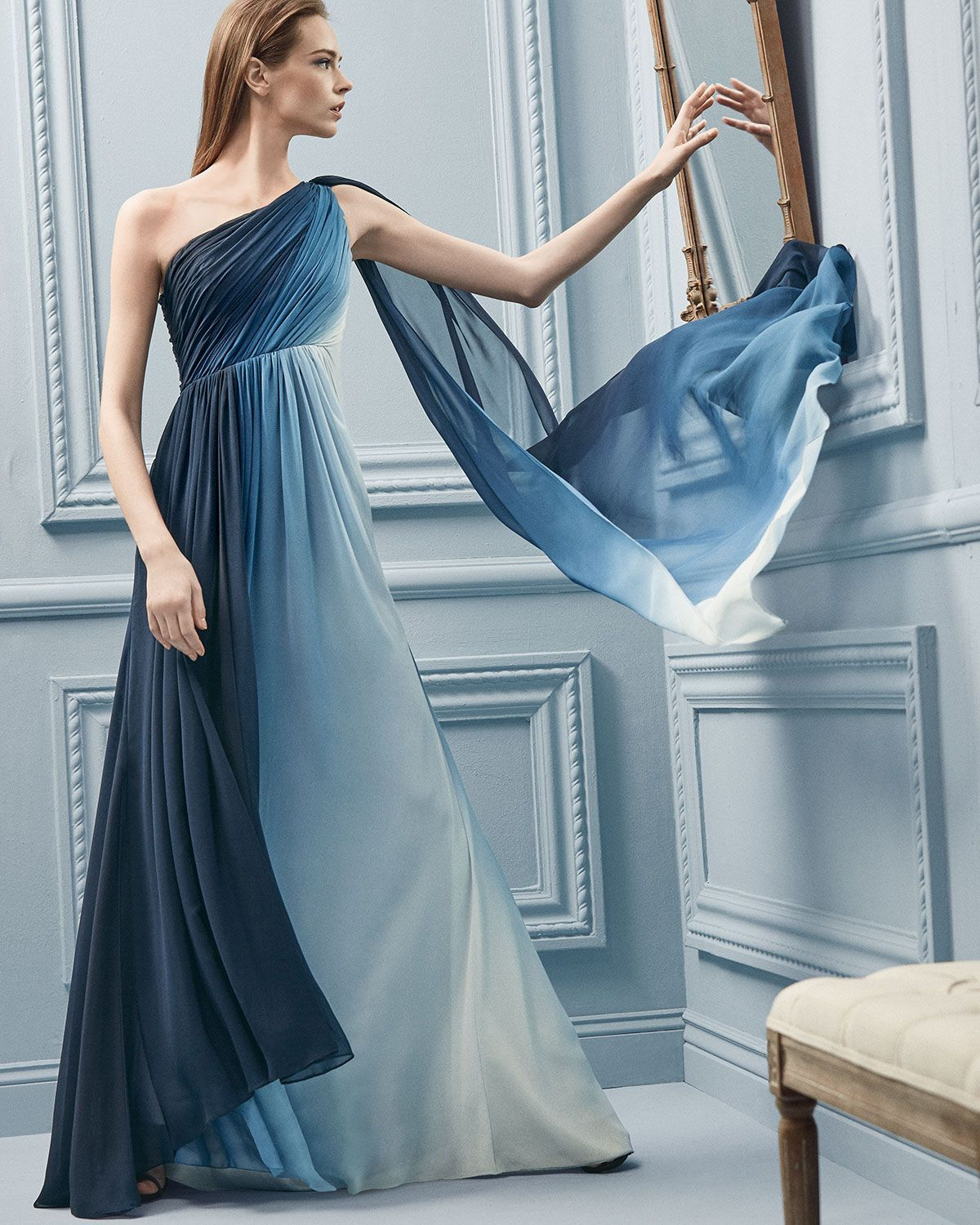 Monique Lhuillier One-Shoulder Ombre Draped Gown in Navy/White ...