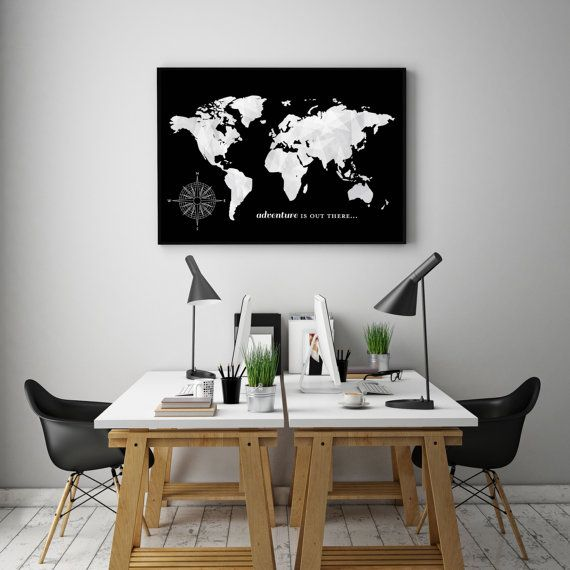 World Map Push Pin Travel Map World Travels Map Office Decor - World map for office wall