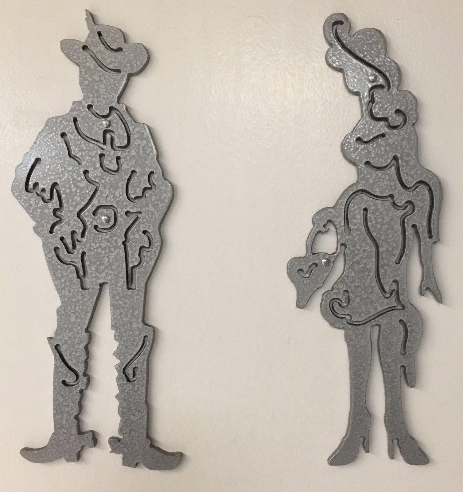 Spray Painted Steel Toilet Restroom Bathroom Signs Figures Male Female Large