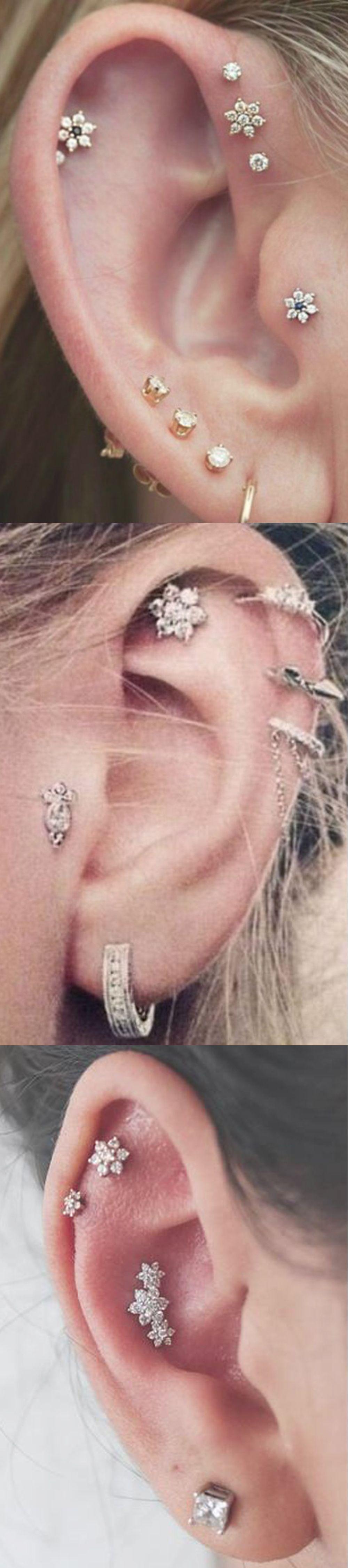 Piercing from nose to ear  Felicity Crystal Flower G Ear Piercing Stud Earring  Body art