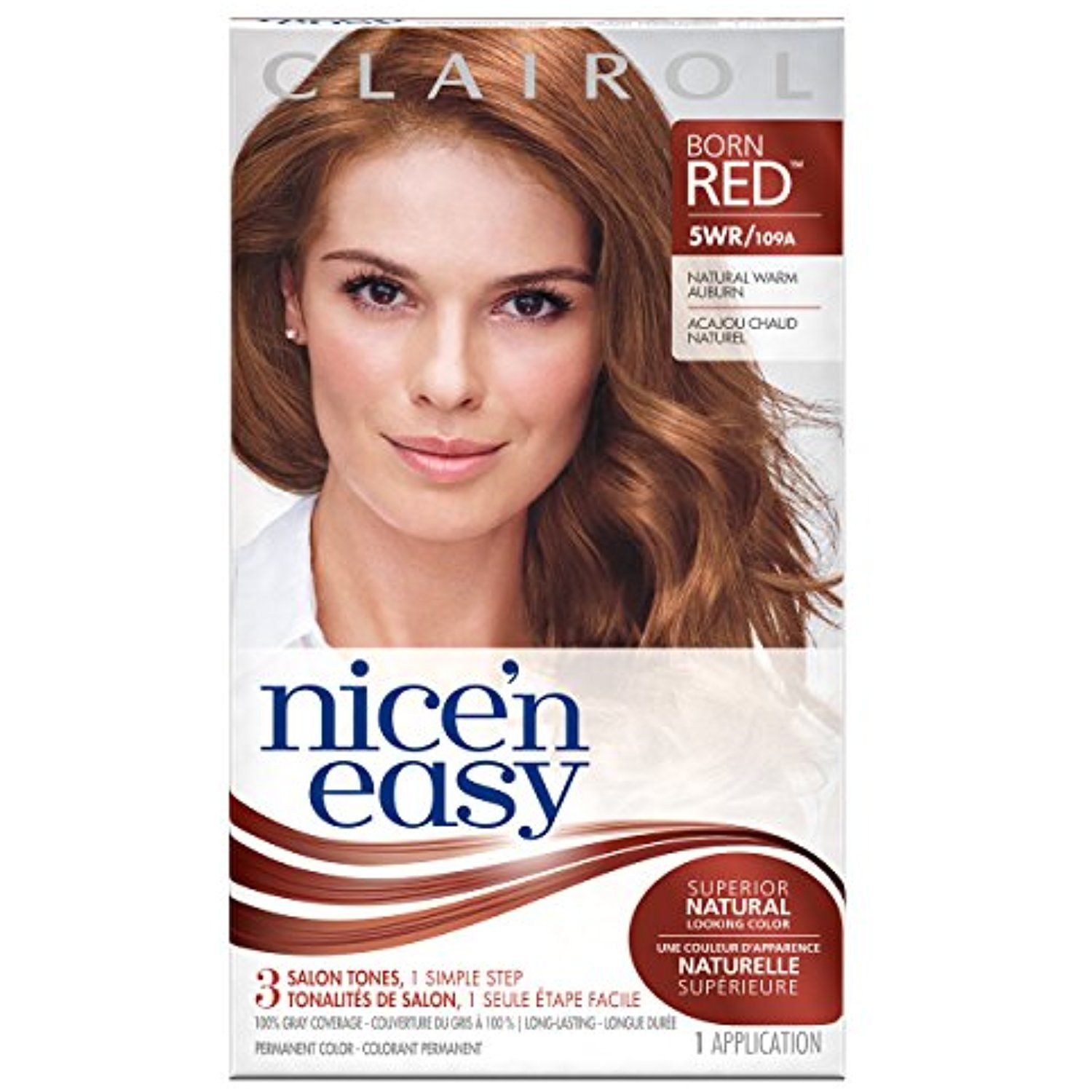 Clairol nice un easy permanent hair color natural warm auburn
