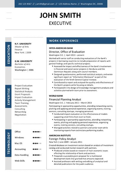 executive classic resume template free