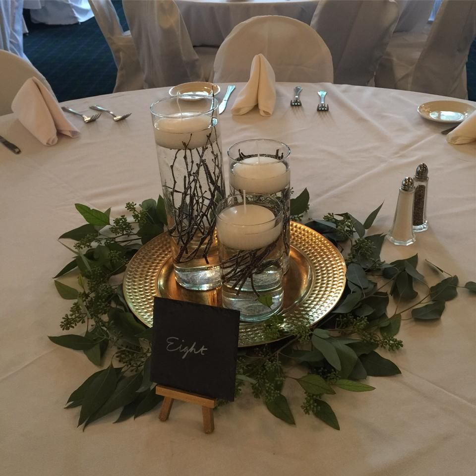 Floating Candles Centerpieces Ideas For Weddings: Centerpiece: Grouping Of Three Cylinders With Twigs