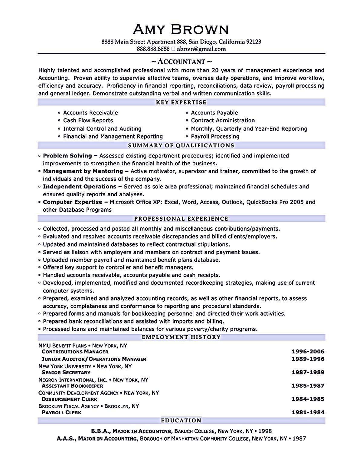Accountant Resume Template Here Helps You In Boosting Your Career