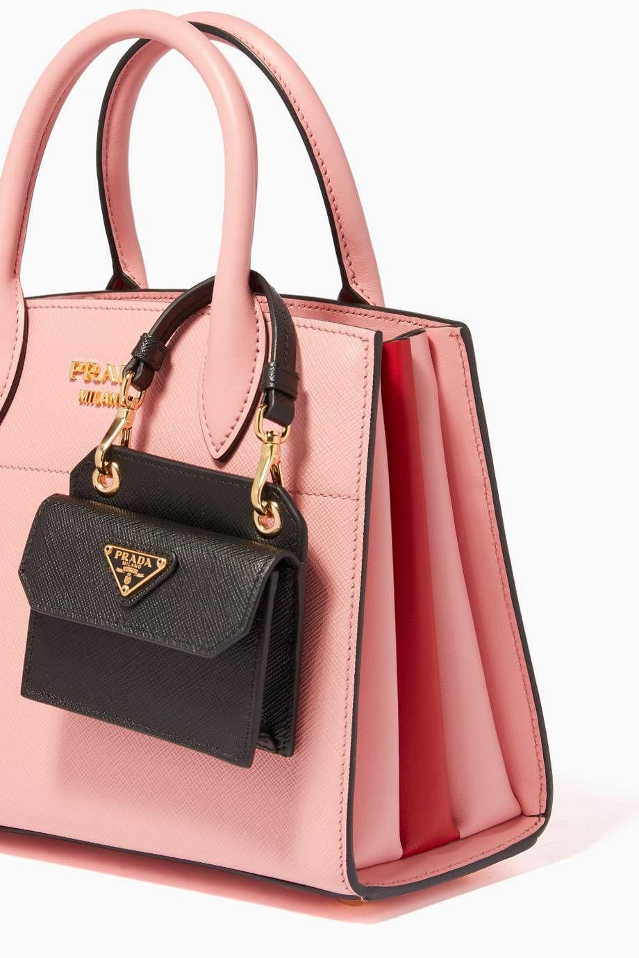 b0ce279e5ce3 Shop Luxury Prada Black Saffiano Leather Bag Charm   Ounass UAE ...