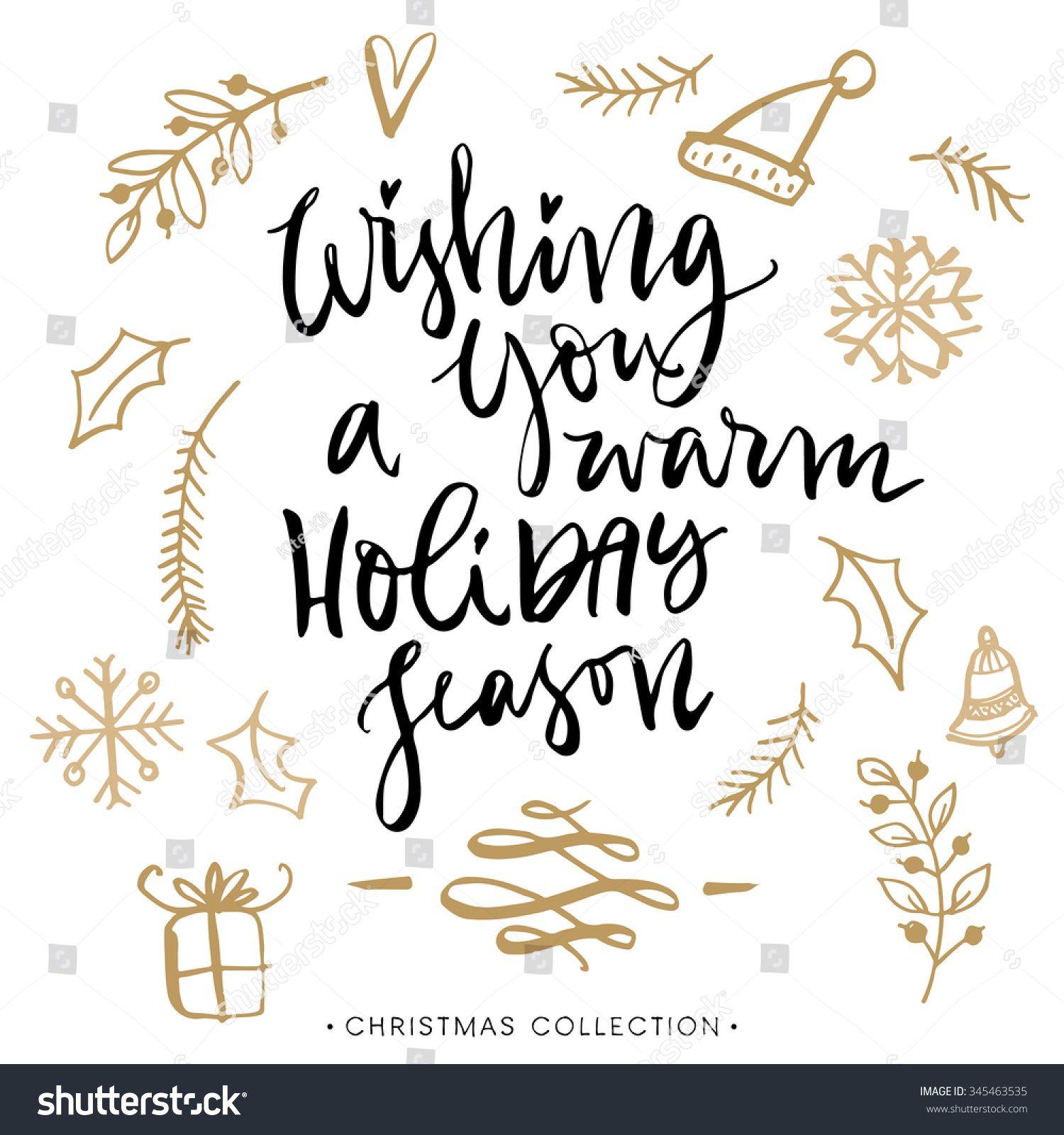 Wishing you a warm holiday season christmas greeting card with wishing you a warm holiday season christmas greeting card with calligraphy handwritten modern brush kristyandbryce Gallery