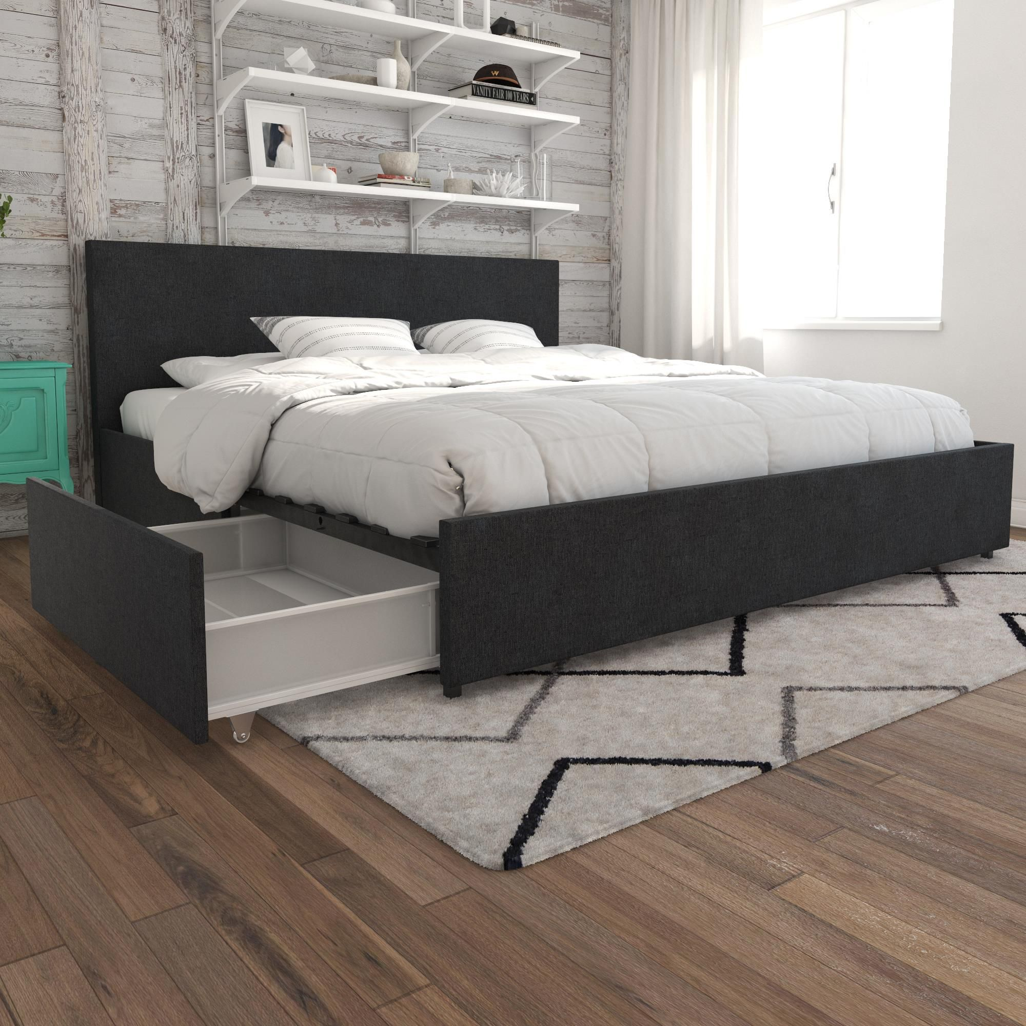 Novogratz Kelly Upholstered Bed With Storage Dark Gray Linen