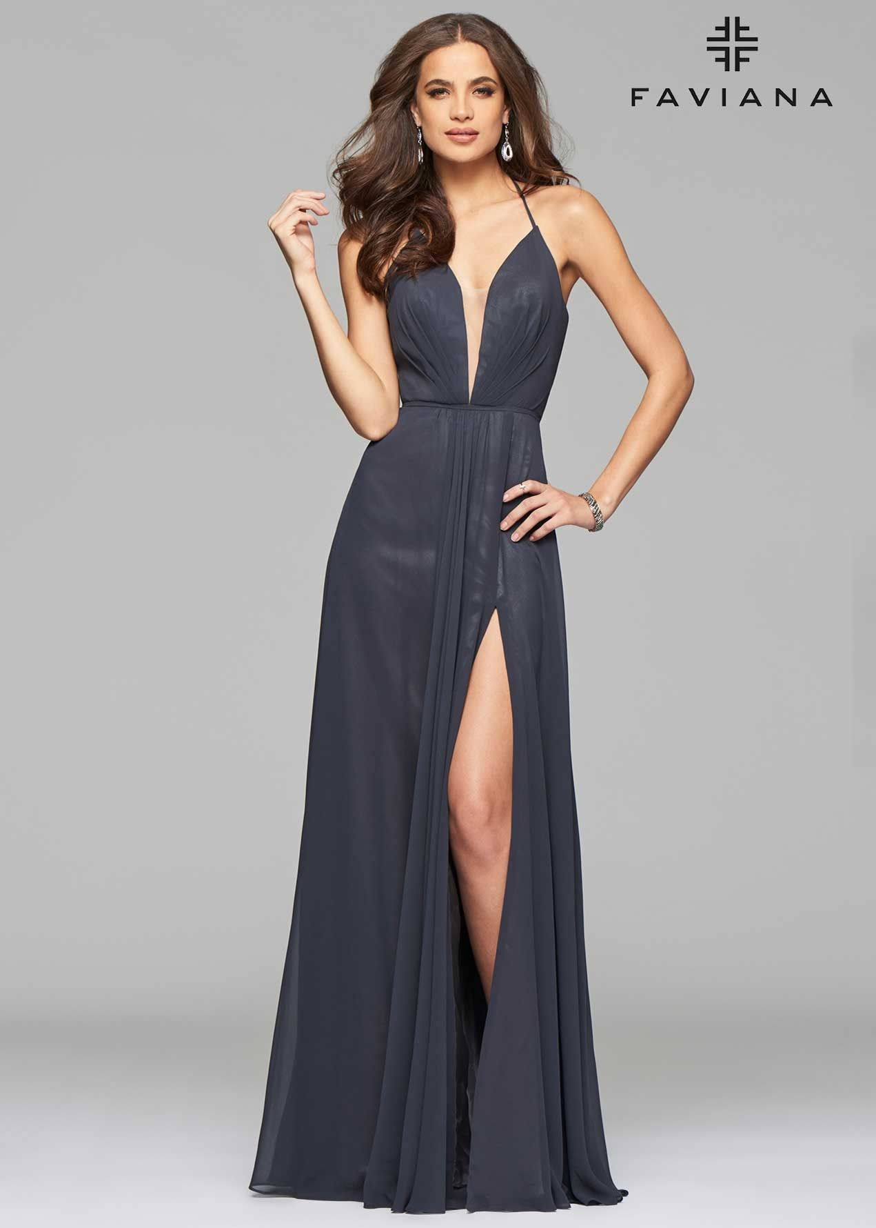 Faviana Plunge Neck Chiffon Evening Gown