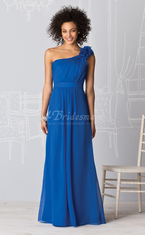 A line one shoulder velvet chiffon floor length ocean blue a line one shoulder velvet chiffon floor length ocean blue bridesmaid dressesbd218 ombrellifo Images