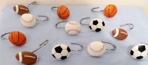 All Sports 12 Shower Curtain HooksFootball Basketball Soccer Baseball