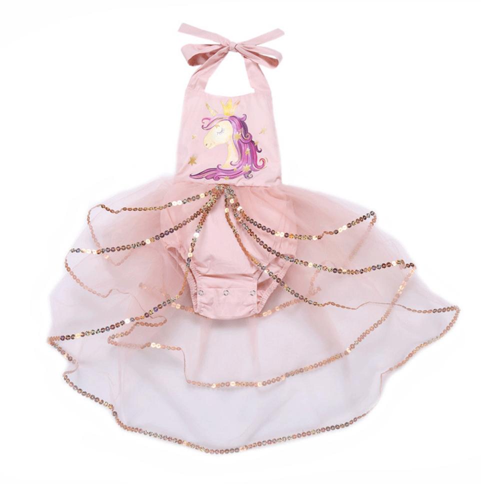 Unicorn Rose Gold Romper Gold Romper Rose Gold Romper Baby Girl Dresses