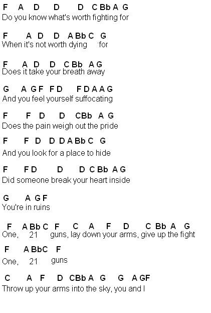 Omg I Love This Songflute Sheet Music 21 Guns Part One By