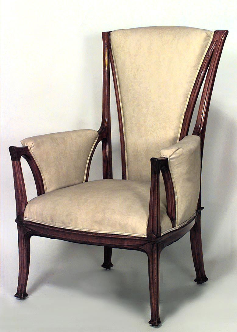 modern art nouveau furniture. French Art Nouveau Walnut High Back Bergere Arm Chair With Brown Velvet Upholstery Price $12,000.00 Modern Furniture U