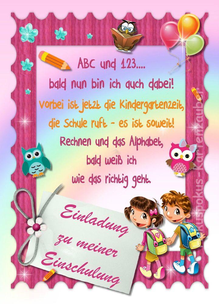 Photo of 8 invitation cards school start school invitations school bag girl in m …