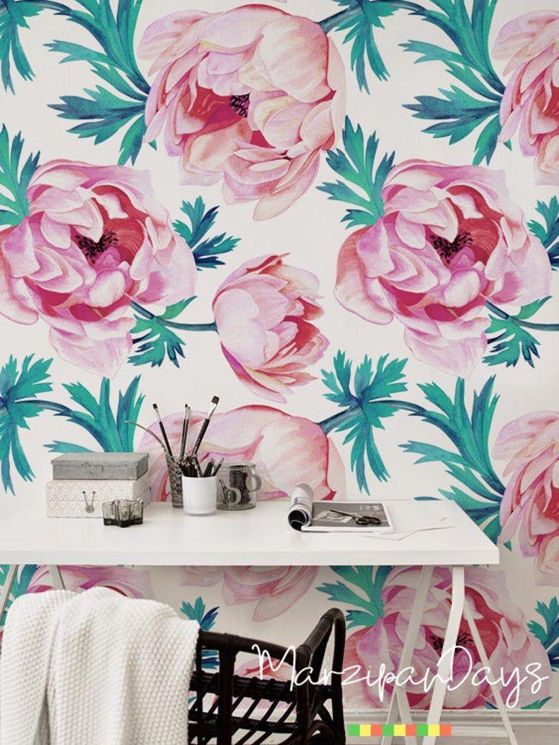 Red Poppy Wallpaper Poppy Flower Removable Wallpaper Floral Etsy Poppy Wallpaper Floral Wallpaper Wallpaper