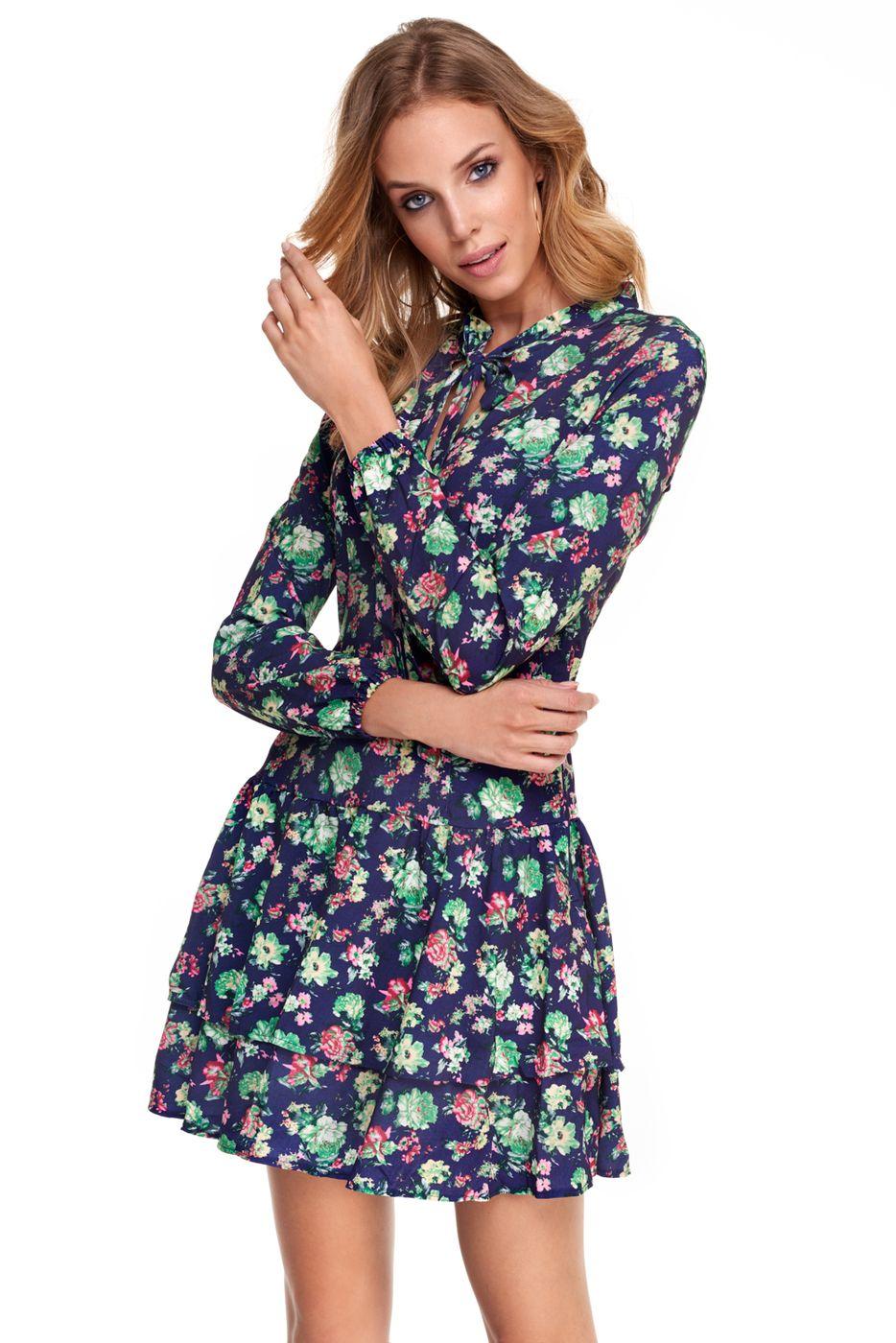 J2018 Sukienka Betty Granatowa W Kwiaty Dresses Mini Dress Fashion