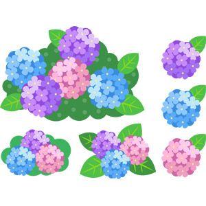フリーイラスト ベクター画像 Ai 植物 花 紫陽花アジサイ 梅雨