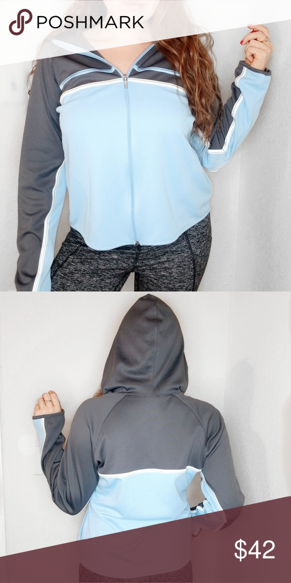 Champion hoodie Champion hoodie Fullzip  Blue and gray colors with white lines Great condition   All offers are welcome   SMOKE AND PET FREE HOME  FAST SHIPPER   Srzz Champion Jackets & Coats #championhoodie