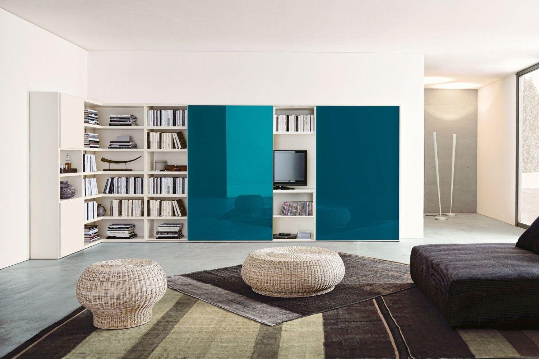 Libreria angolare per soggiorno 556 in versione bianca con for Scrivania per soggiorno