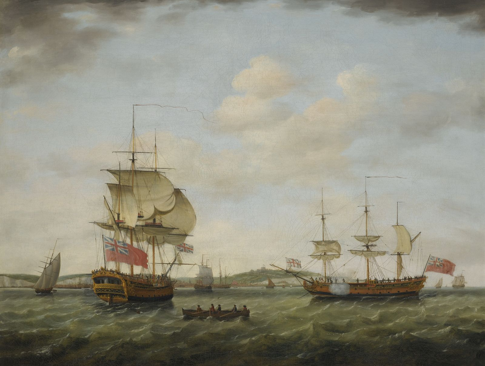 A british sixth rate man of war off Dover, in two positions, 1777 FRANCIS HOLMAN RAMSGATE 1729 - 1784 WAPPING signed and dated l.l.: F. Holman / 1777 oil on canvas 98 by 128.5 cm.; 38 1/2 by 50 1/2 in.