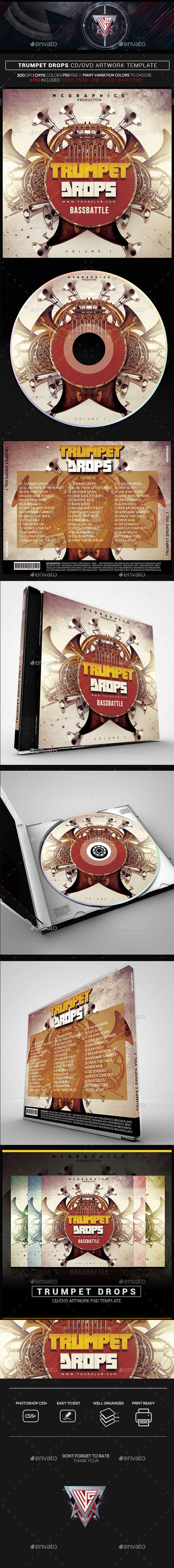 trumpet drops cd dvd template template print templates and font logo