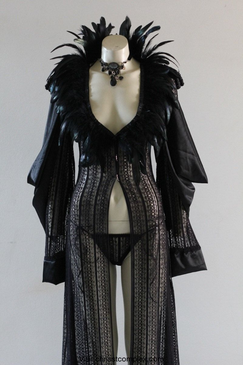 Deluxe Black Lace Robe Feathers Gown Lingerie Vintage Gift