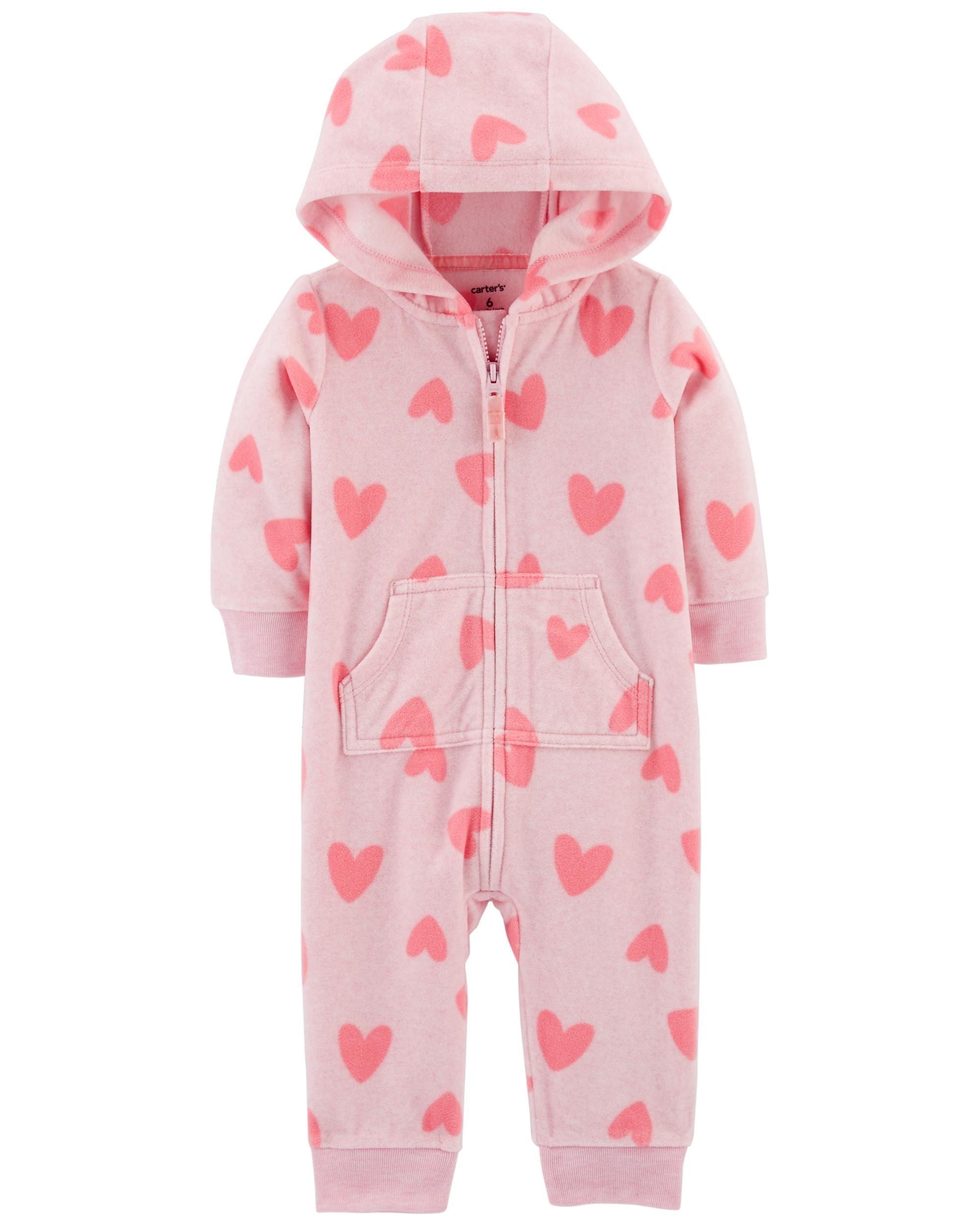 772b8104a Heart Fleece Hooded Jumpsuit