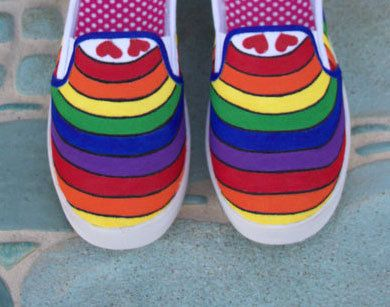 Rainbow Hand Painted Slip On Sneakers/Rainbow Pride Sneakers/Women's Slip On Sneakers/Over the Rainbow/Canvas Slip Ons/Rainbow Shoe Design