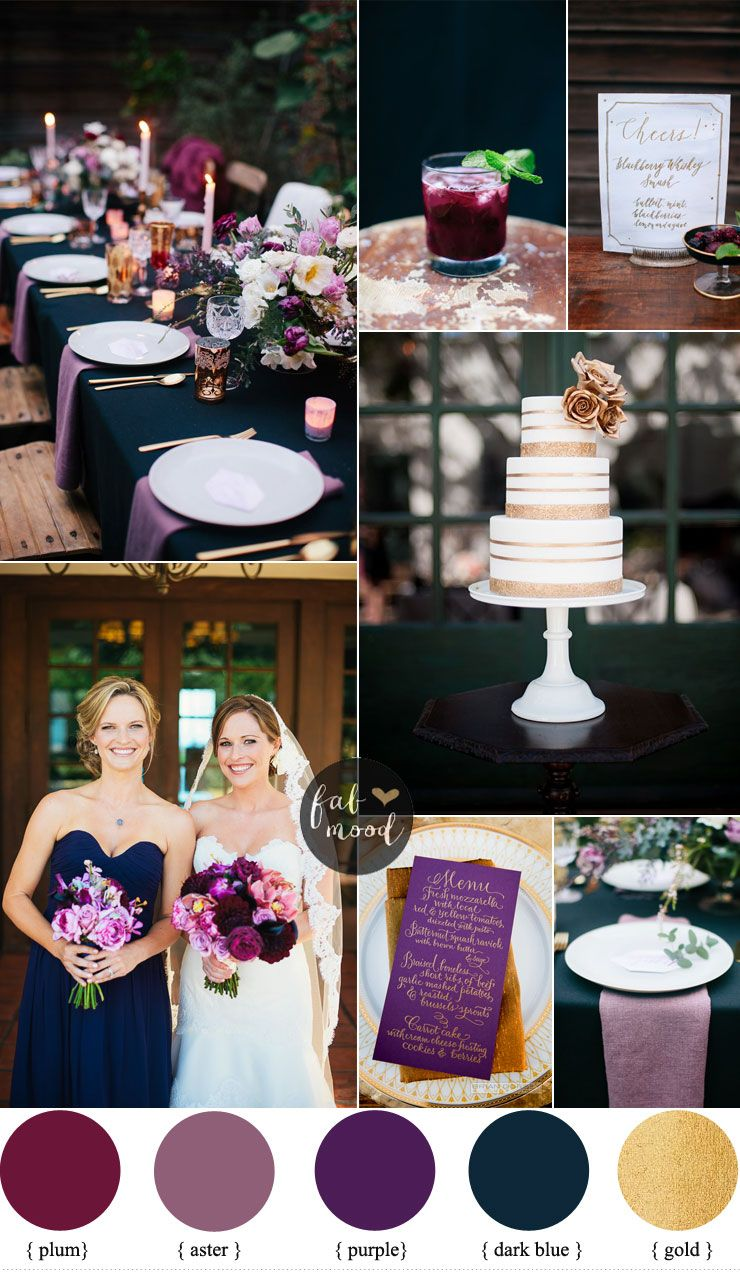 Plum Aster Purple Dark Blue Gold Wedding Colors The Addition