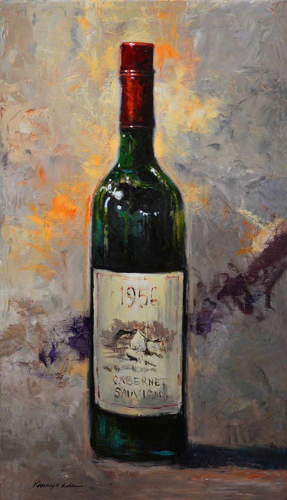 Original acrylic painting wine art on canvas prints by for How to paint bottles with acrylic