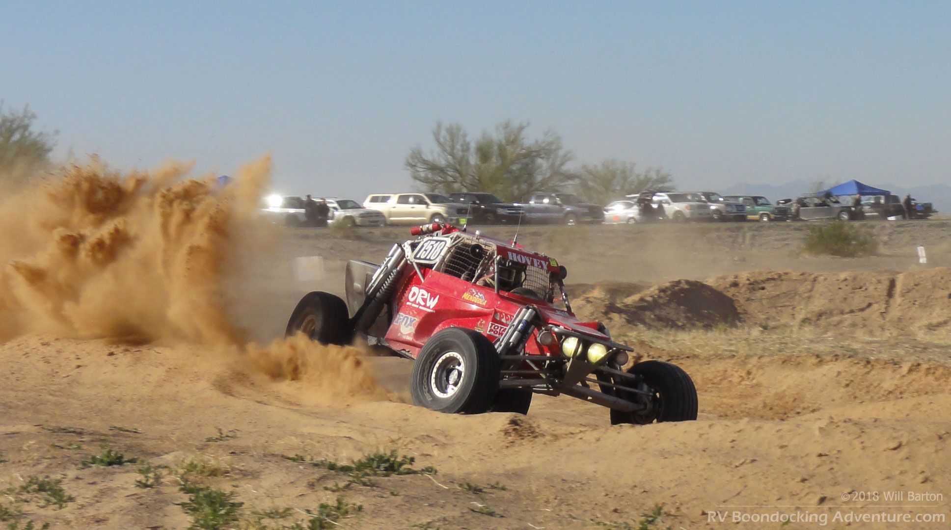 An offroad buggy kicks up some dust at the Parker 425 Off