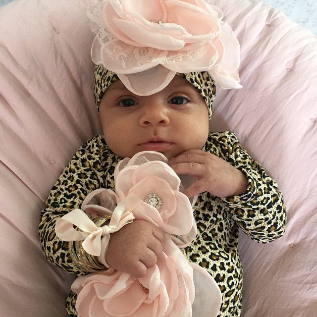 Photo of Baby Girl Floral Romper Infant Layette Cotton Baby Romper with Large Flower On The Chest and Matching Hat