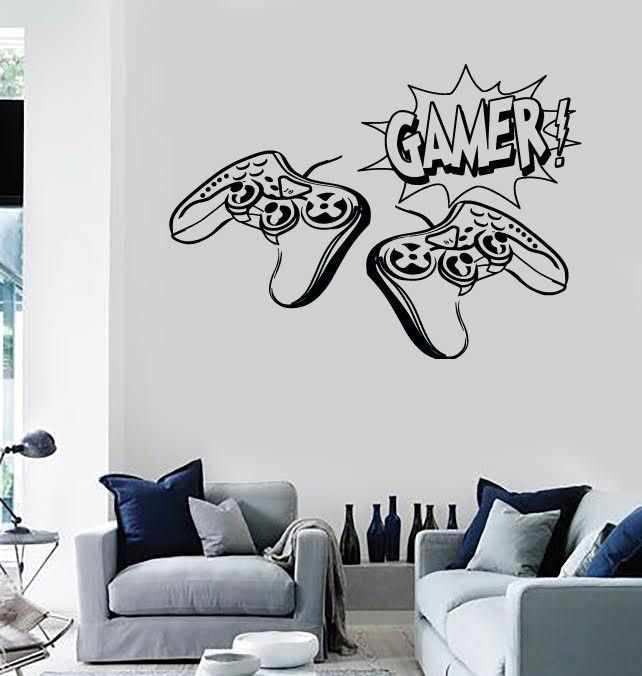 Wall stickers vinyl decal video gamer joysticks playstation decor unique gift z2216 kamer - Chambre game but ...