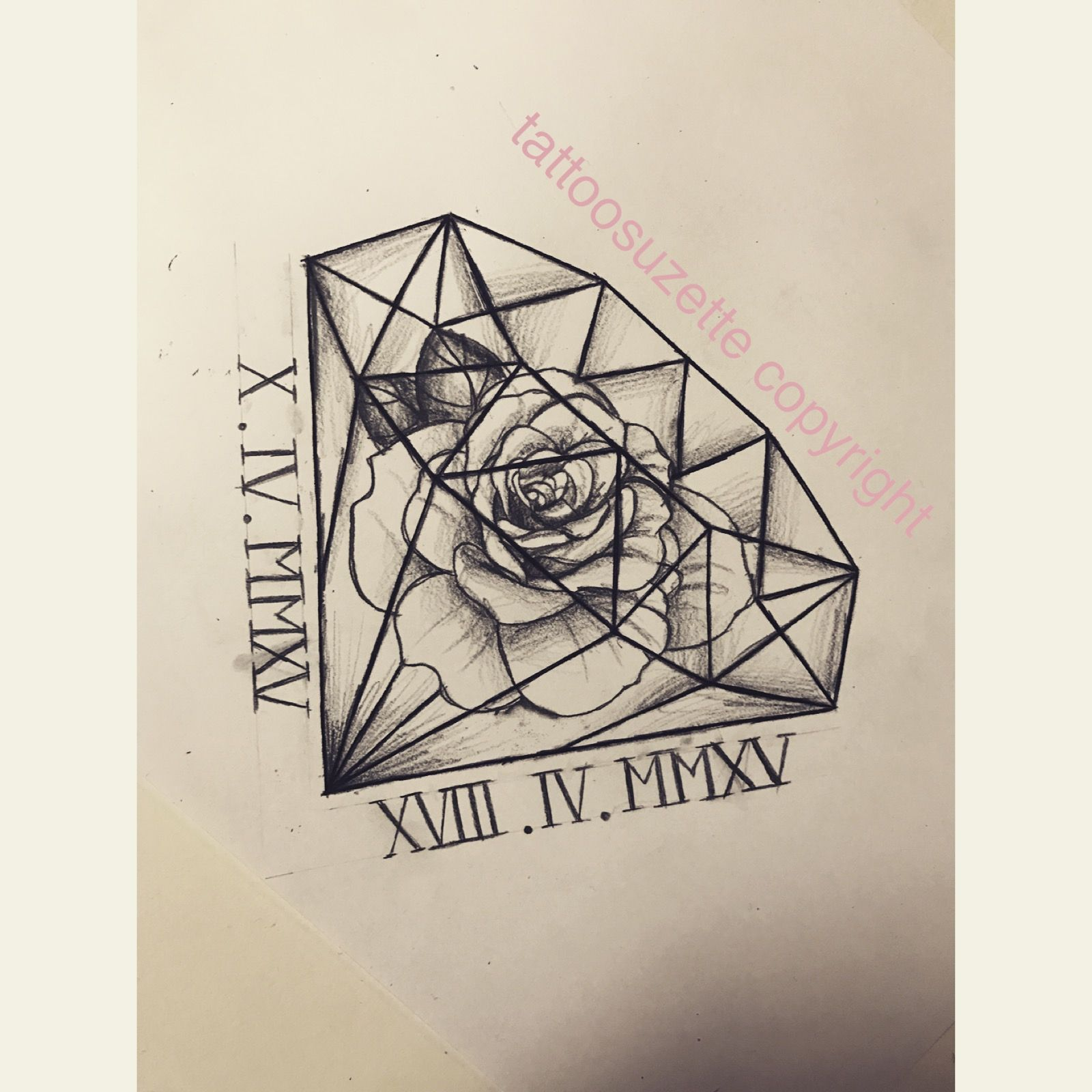 Rose Diamond Tattoo Design