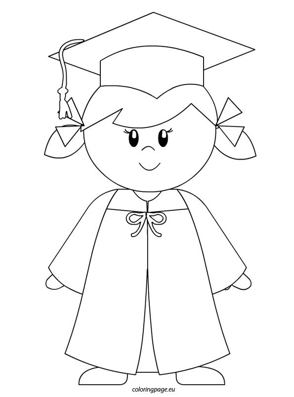 Kindergarten graduate girl coloring page to color for Graduation cap and diploma coloring pages