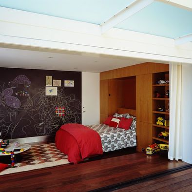 cute boys room - love the chalk board wall and a shelf just for all the trucks/planes ect